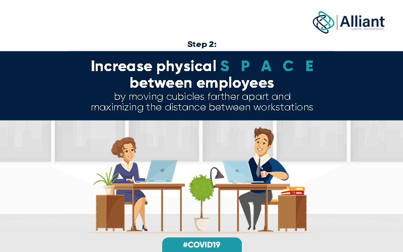 A representation to increase physical space between employees by moving cubicles father apart and maximizing the distance between workstations