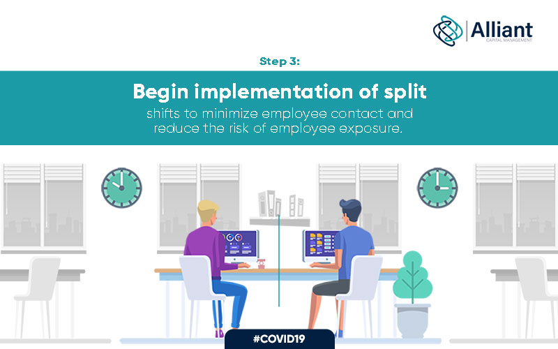 Representation of office staff implementing split shifts to minimize employee contact and reduce the risk of employee exposure